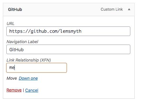 wordpress menu item layout with rel-me