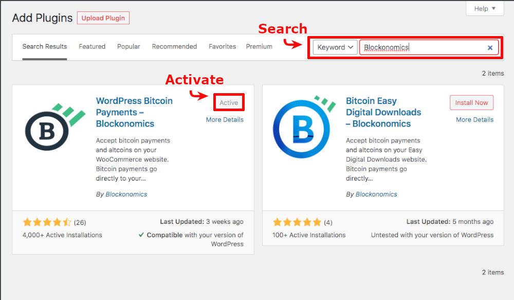 search for blockonomics install and activate