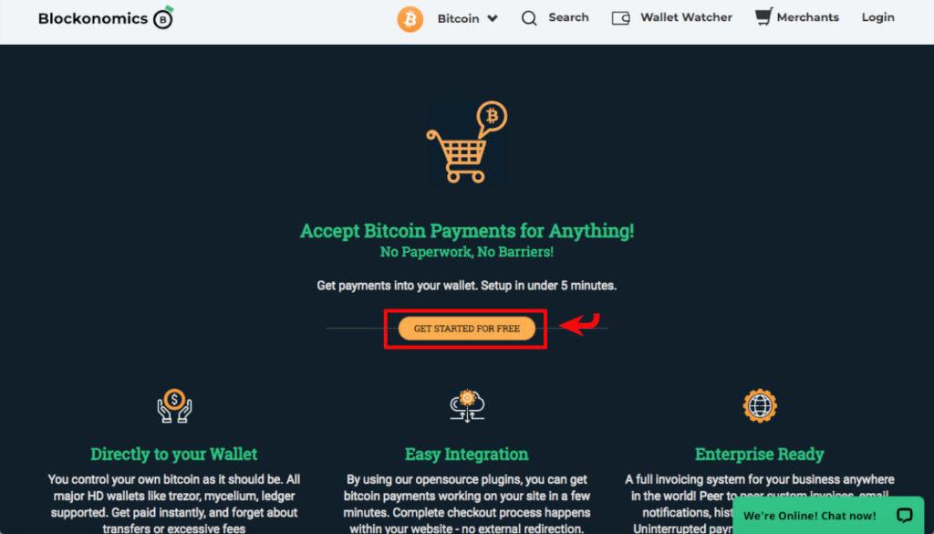 blockonomics merchant page