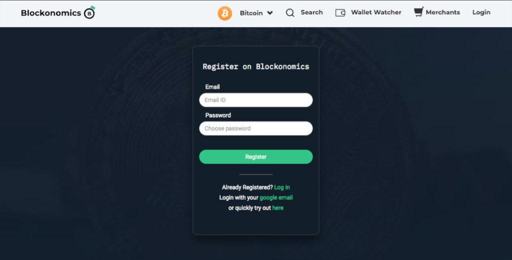 blockonomics create account page