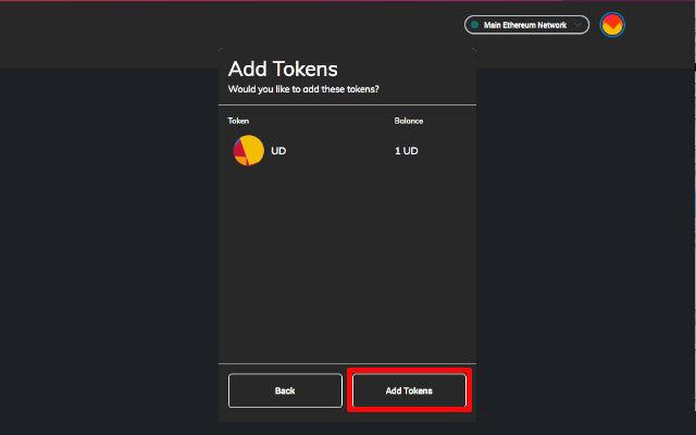 Confirm Add Token to Metamask Wallet